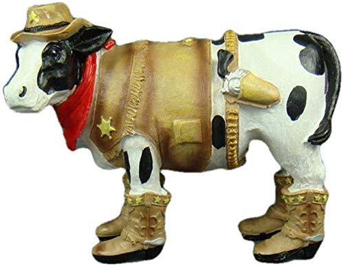 ZXLRH Statues Ornament Statueanimal Figures Decorationfigures Cow Police Officer Western Cowboy Statue Gift and Craft Ornament for Bakery Figurines Sculptures