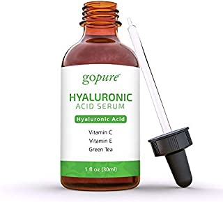 goPure Hyaluronic Acid Serum for Face - Anti Aging Serum with Vitamin C & E, Green Tea - Anti Wrinkle Hydrating Serum - Facial Moisturizer Collagen Serum - Helps Hydrate and Plump the Skin