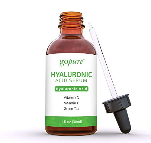 41+Csso8I+L - goPure Hyaluronic Acid Serum for Face - Anti Aging Serum with Vitamin C & E, Green Tea - Anti Wrinkle Hydrating Serum - Facial Moisturizer Collagen Serum - Helps Hydrate and Plump the Skin
