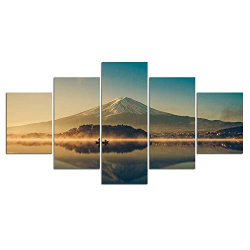EMAIENA Quadri Moderni Soggiorno 5 Pezzi Bellissimo Vulcano Panoramico Lago di Montagna Moderni Quadri Modulare per Camera da Letto Decorativa Moderna Soggiorno Parete Casa Decor Arte-150 x 80cm