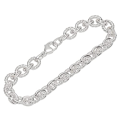 NKlaus Pulsera de plata de ley 925 de 19 cm con cadena de ancla lisa para mujer 12117