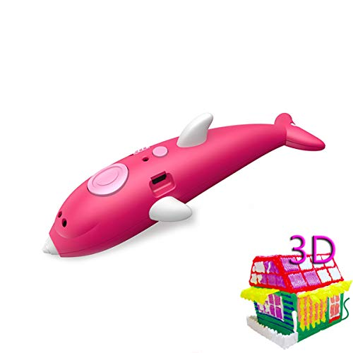 DUTUI Children's 3D Printing Pen, Student Stereo Graffiti Multifunctional 3D Painting Pen, Wireless Painting Toy, Children's, Pink