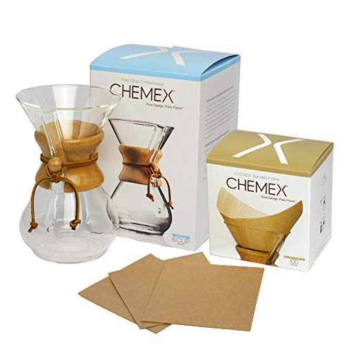 [ケメックス] CHEMEX コーヒーメーカーセット マシンメイド 6カップ用 +フィルターペーパー ナチュラル(無漂白タイプ) 四角タイプ 100枚入り [並行輸入品]