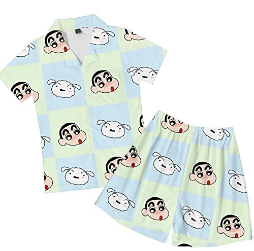 Pijamas,Hombre Anime Crayon Shin Chan Loungewear Unisex Pjs Dos Piezas Suave Juvenil Shorts De Manga Corta Botón Ropa De Dormir Mezcla De Colores 4XL