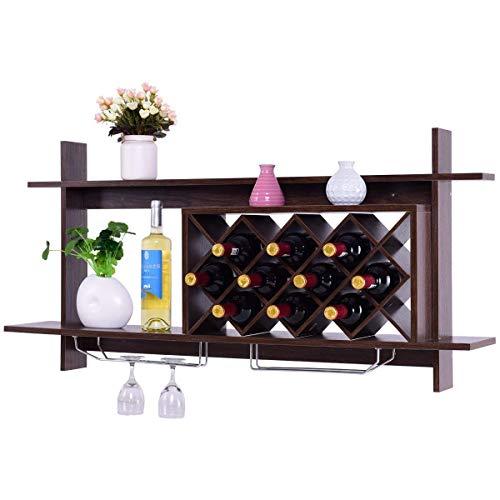Giantex Wall Mounted Wine Rack Organizer W/Metal Glass Holder & Multifunctional...
