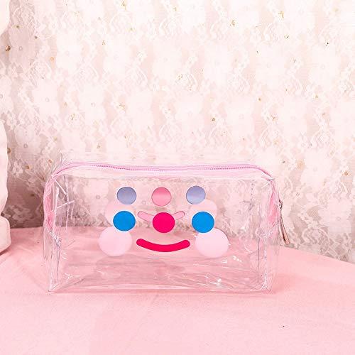 1 PC Girl Clear Cosmetic Bag PVC Bolsa de maquillaje transparente para mujeres con cremallera impermeable Caso de belleza Bolsos de aseo de viaje (Color : Smile face)