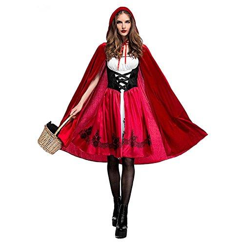 Gaeruite Costume classico da Cappuccetto Rosso per donna, vestito per feste in maschera, giochi di ruolo, Halloween e Natale, vestito e mantello, Red, medium