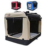 Hundetransportbox faltbar Transportbox für Hunde Hundebox Auto - Dogi Kennel - 6 Größen - 3 Farben (XXL (91 x 64 x64 cm), Beige)