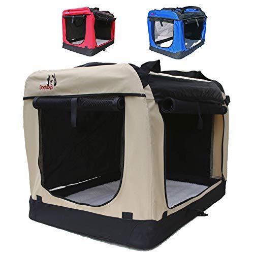 Hundetransportbox faltbar Transportbox für Hunde Hundebox Auto - Dogi Kennel - 6 Größen - 3 Farben (S (50 x 35 x 35 cm), Beige)