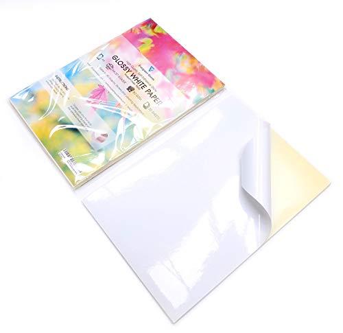 10Blatt A4weiß glänzend selbstklebend/Sticky Back Label Papier Blatt drucken