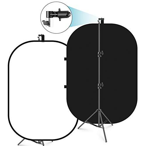 Neewer 150x200cm Chromakey en Blanco y Negro 2-en-1 Doble Cara Emergente Telón de Fondo Plegable con Soporte Panel Plegable para Toma de Fotos y Videos