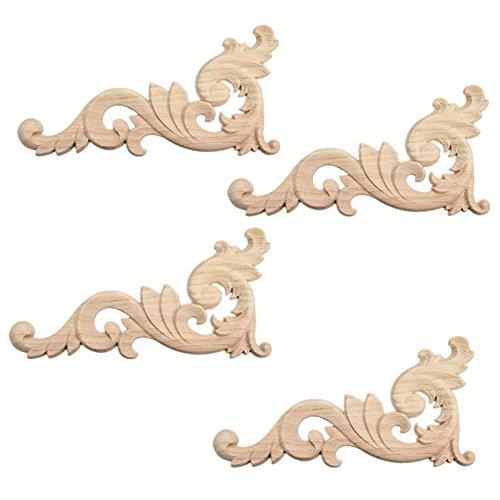 SODIAL 4pzs Ornamento Adornos Ornamentos de Madera Hechos a Mano para Esquina de Mueble guardarropa 15x7.5cm