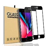 【2枚入り】iPhone8/iPhone7 ガラスフィルム 全面保護フィルム 【日本製素材旭硝子製】·最高硬度9H·高い光透過率·3D Touch対応·飛散防止·指紋防止·気泡防止 iPhone8/iPhone7 液晶強化ガラス(ブラック)
