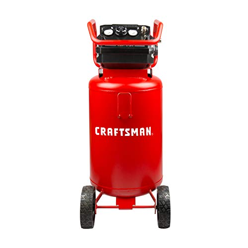 Craftsman Air Compressor, 20 Gallon Oil-Free 1.8 HP Max 175 PSI Pressure Two Quick Couplers Big Capacity, Red- CMXECXA0232043