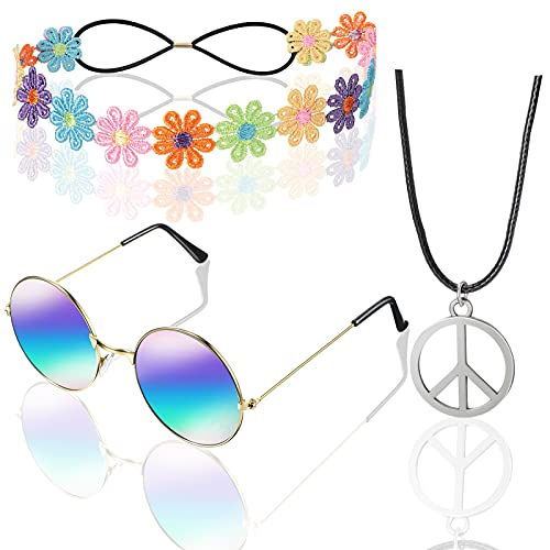 Hippie Costume Set Includes Peace Sign Necklace, Flower Headband Colorful Daisy Headband Hair Wreath, Hippie Round Sunglasses 60s 70s Dressing Accessory for Women Men