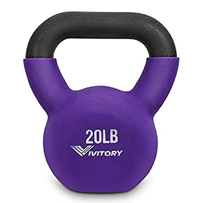 Vivitory Neoprene Coated Kettlebells, Solid Cast Iron, 5, 5-30 Pounds, for Men and Women to Strength Training and Fitness by Vivitory