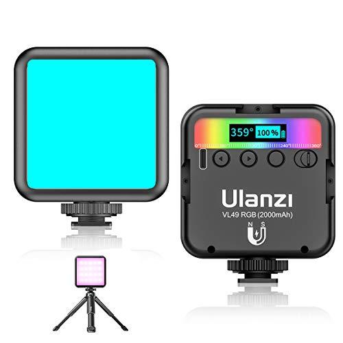 Ulanzi VL49 RGB撮影ライト LEDビデオライト +ミニ三脚 撮影ライト 小型 マグネット式 色温度2500K-9000K USB-C充電式 自撮り 商品撮影 iphone/Gopro/Osmo Pocket/Samsung/Nikon/Canon/Sony/アクションカメラに適用 12ヶ月保証 「日本語説明書付け」