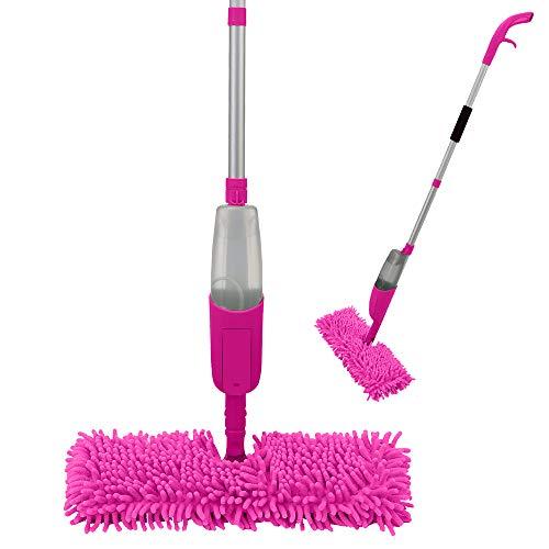 ANSIO Spray Mop, Mopa con Reutilizable de Microfibra Almohadillas para el Hogar, Cocina, Madera Dura, Madera, Cerámica laminados, alicata limpieza-Rosa