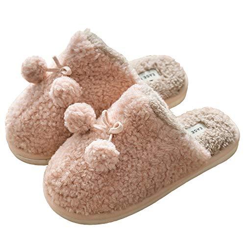 B/H Strand- und Pool-Schuhe mit offener Zehenpartie, warme Baumwoll-Hausschuhe, rutschfeste Hausschuhe für den Innenbereich, Pink, Größe 38-38