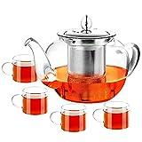 PluieSoleil Théière en verre avec filtre à thé, théière en verre de 600 ml avec infuseur en acier inoxydable pour thé en vrac, résistance à la chaleur
