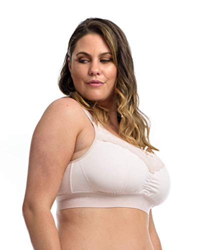 The Lounge Bra: Women's Full Bust Wirefree Comfort Bra for Loungewear/Sleepwear. Delicate Blush. 32N-O (USA) / 32JJ-K (UK)