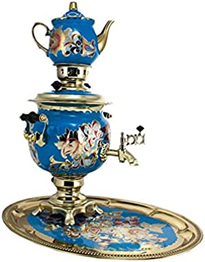 "Samovar electric 3 liters""Round"" in the set""Flowers in blue"" hand-painting"