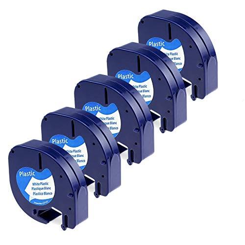Etichette in Plastica Invoker Compatibile In sostituzione di Dymo LetraTag 91201 S0721610 12mm x 4m,Compatibile con Dymo LetraTag 100H 100T 110T QX 50 XR XM 2000 Plus, Nera su Bianco,confezione da 5