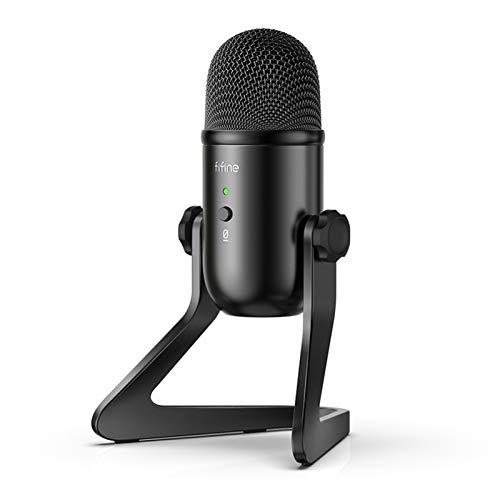 DLF Micrófono USB, Adecuado for la grabación/reproducción Multimedia/Juego de PC, micrófono dedicado, Salida de Auriculares y Control de Volumen del micrófono