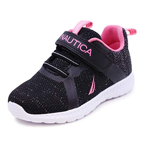 Nautica Kids Boys Girls Fashion Sneaker Athletic Running Shoe with Stap for Toddler and Little Kids-Jurnee Toddler-Black Pink-5