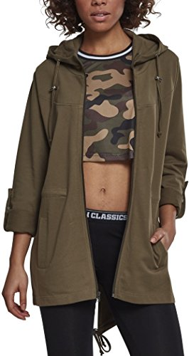 Urban Classics Damen Ladies Terry Parka Strickjacke, Grün (Olive 00176), Large