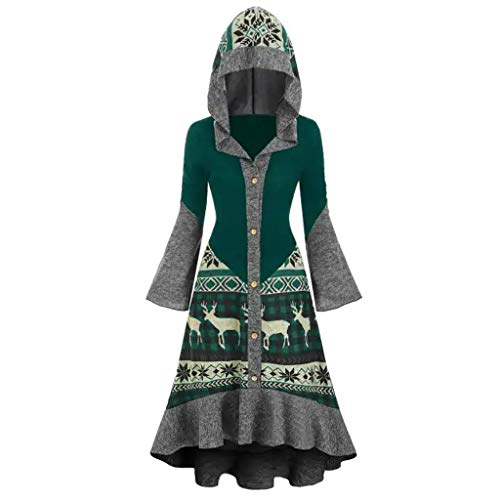 Womens Hooded Vintage Plus Size Christmas Elk High Low Flounce Hem Knitted Dress