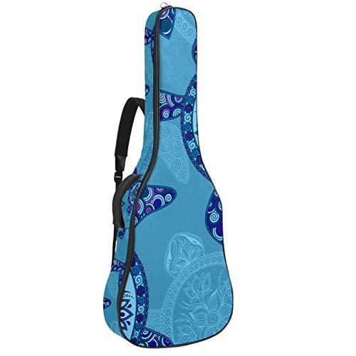 Gitarrentasche Tribal Aztec Sea Turtle Gepolsterte Gitarrentasche Tragetasche Full Size Protective Waterproof Rucksack mit Tragegriff für Akustik-, Klassik- und E-Gitarren