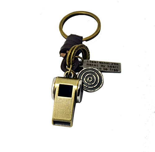 Best Price! SMVISON Cute DIY Handmade Retro Alloy Weave Leather Car Key Chain
