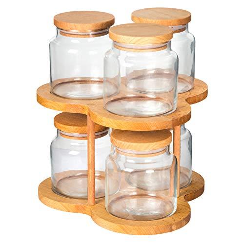 Carrusel giratorio con 6 tarros de vidrio transparente, Especias, hierbas, mini galletas, dulces de contenedorer,...