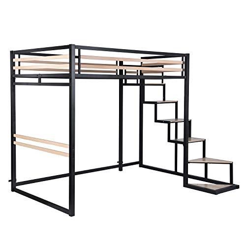 Lit Mezzanine Adulte en métal Noir et Effet Transfert Bois avec sommier tapissier + échelle MDF + Rangement-Matelas 140x200cm exclus