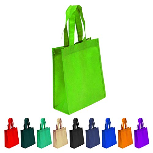 10 Pack Lime Green Reusable Tote Bags, Heavy Duty Non-woven Polypropylene, Small Gift Tote Bag, Book Bag, Non Woven Bag Multipurpose Art Craft Screen Print School Bag (Lime Green, Set of 10)