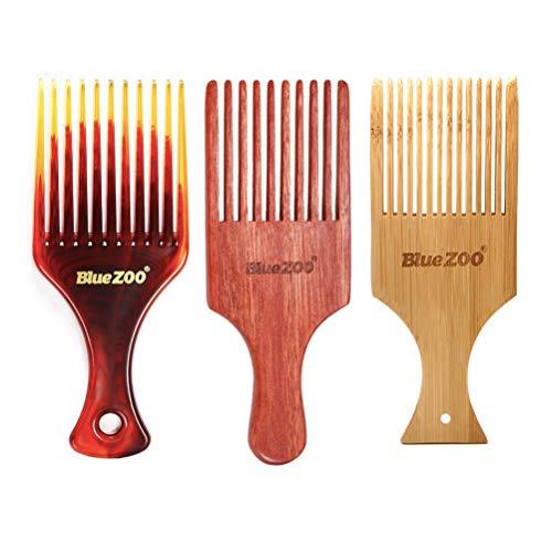 Beaupretty 3 Pcs Bambou Poignée Peigne Grande Large Dent Peigne Démêlant Cheveux Peigne pour Hommes Femmes Filles Garçons Étudiants Coiffeur Voyage