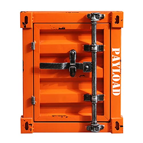 HTQ Mesita de Noche Retro contenedor Industrial de Metal Almacenamiento Antiguo gabinete Lateral de café Adecuado para Dormitorio Comedor Oficina (Color : Orange)