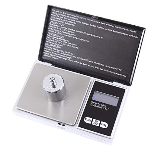 FBGood - Mini báscula electrónica de Bolsillo con Pantalla LCD táctil para Joyas, balanzas de precisión, balanza de Joyas, báscula de Alta precisión, Plata, D
