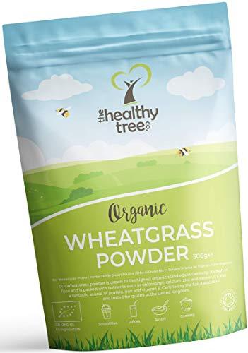 Bio Weizengras Pulver von TheHealthyTree Company - Viele Ballaststoffe, Vitamin E, Kalium und Eisen - Reines veganes Weizengras aus Deutschland, perfekt für grüne Säfte (500g)