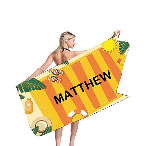 MaquiGra Toallas de Playa de Microfibra Personalizada con Nombre para niños Adultos Toalla de baño para Adultos Colorido Suave Secado rápido Gran tamaño Regalo del Dia de la Madre