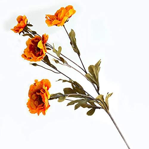 XIAOQIU Artificial Flowers Peony Silk Cloth Simulation Flower Wedding Decoration DIY Garland Gift Decoration Home Crafts Plant Artificial Flower Fake Flowers (Color : Orange)