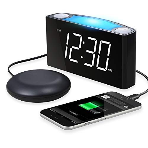 Extra Loud Alarm Clock with Bed Shaker, Vibrating Alarm Clock for Heavy Sleepers Deaf Hearing Impaired, 2 USB Chargers Nightlight,Large LED Display &Dimmer,Snooze 12/24H DST Plug-in Battery Backup