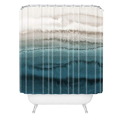 """Society6 Monika Strigel Within The Tides - Crashing Waves Teal Shower Curtain, 72"""" x 69"""" 2lbs, Multi"""