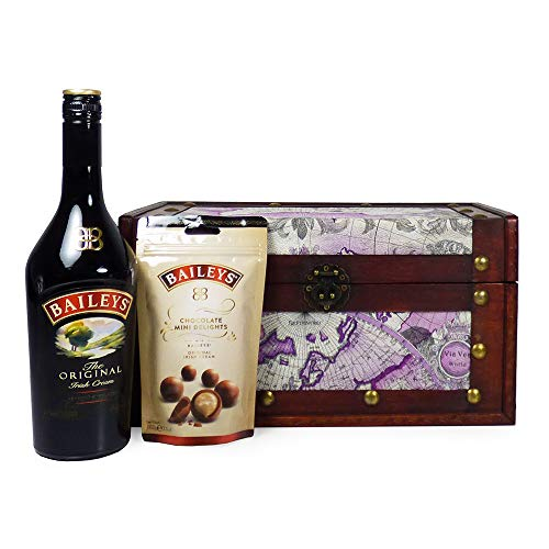 Irresistible Baileys and Chocolate Gift Hamper Presented in a Map Style Wooden Chest - Gift Ideas for Mothers Day, Valentines, Birthday, Anniversary, Corporate, Business and Congratulations presents