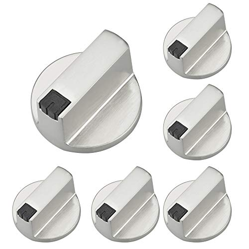 LYTIVAGEN 6 Stück Gasherd Drehknöpfe Metall Drehknäpfe Herd Silber Ofenschalter Universal Schaltknöpfe Gasherdknöpfe Steuer Knöpfe für Herd Ofen Steuer Mikrowelle