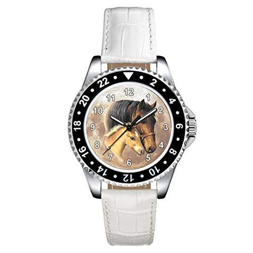 Timest - Caballo con el Potro - Reloj para Mujer con Correa de Cuero Blanco Analógico Cuarzo CSE024LW