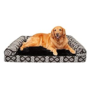Furhaven Pet Dog Bed – Cooling Gel Memory Foam Plush Kilim Southwest Home Decor Traditional Sofa-Style Living Room Couch Pet Bed with Removable Cover for Dogs and Cats, Black Medallion, Jumbo