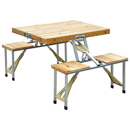 LKOPUo Portable Outdoor Picnic Table, Foldable Indoor Table Bench Set, Camping Travel Beer Table with Seating And Umbrell, for Beach Patio Outdoor Party Garden Activities Use (Size : Table)