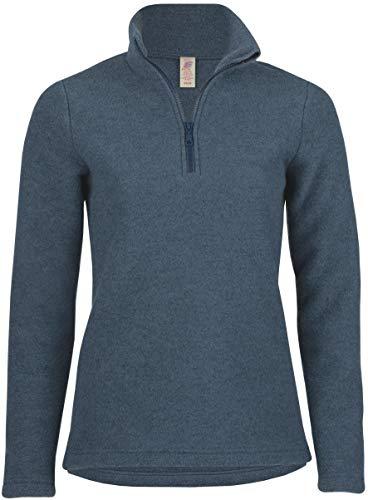 Engel Natur, Damen Fleece Pullover mit Reißverschluss, 100% Wolle (kbT) (38/40, Atlantik Melange)